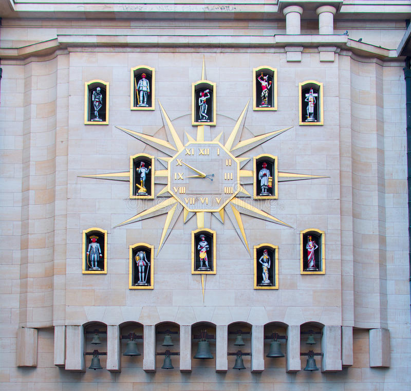 The Clock of Citizens. A Jacquemart clock, in Brussels, Belgium stock photo