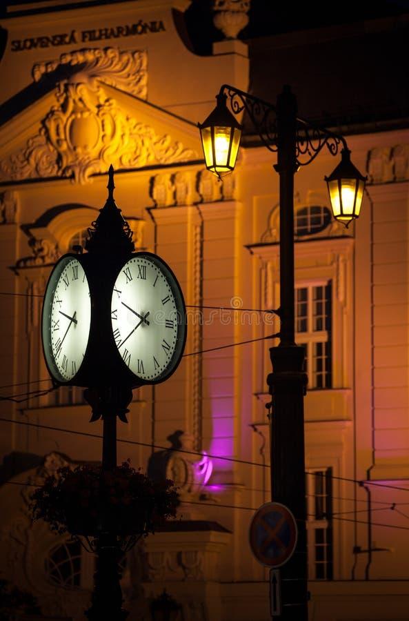 Clock at the city Bratislava, Slovakia royalty free stock images