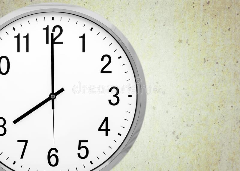 Clock. Face time o` multiple image midday white stock photo