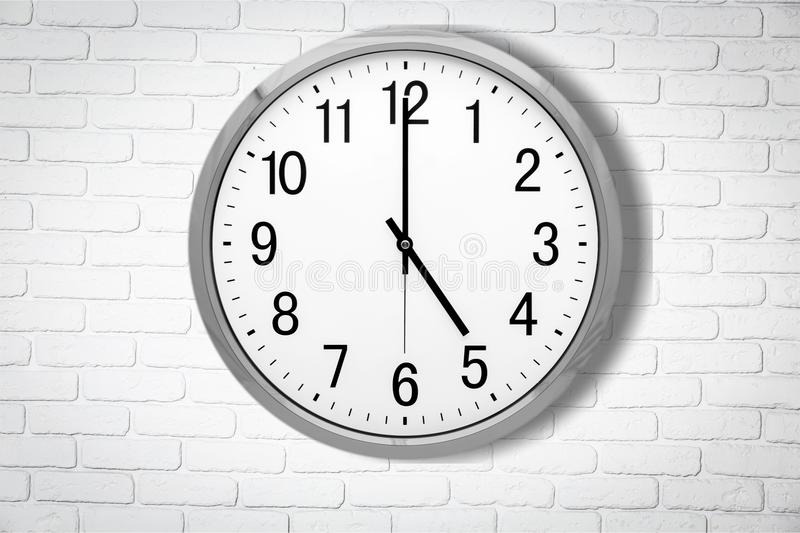 Clock. Face time o` multiple image midday white stock photos