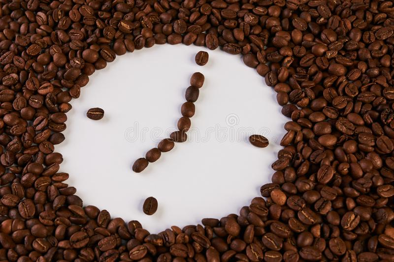 Clock of coffee beans royalty free stock image