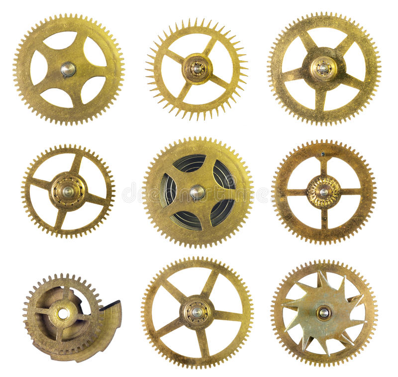 Clock Cogs. Set of old clock cogs isolated on white background