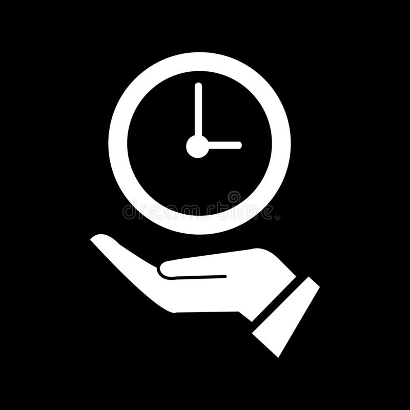 Clock concept on the left palm for web icons and symbols on a black background. Flat vector illustration