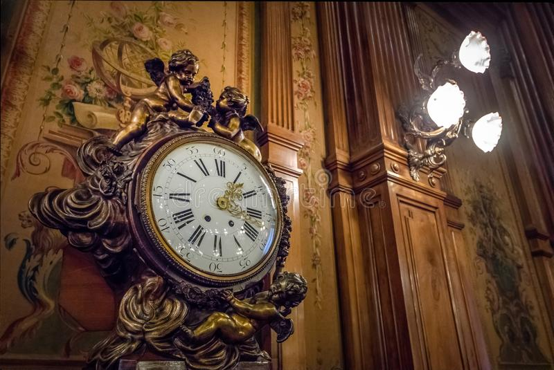 Clock of Congress Library at National Congress of Argentina - Buenos Aires, Argentina stock photo