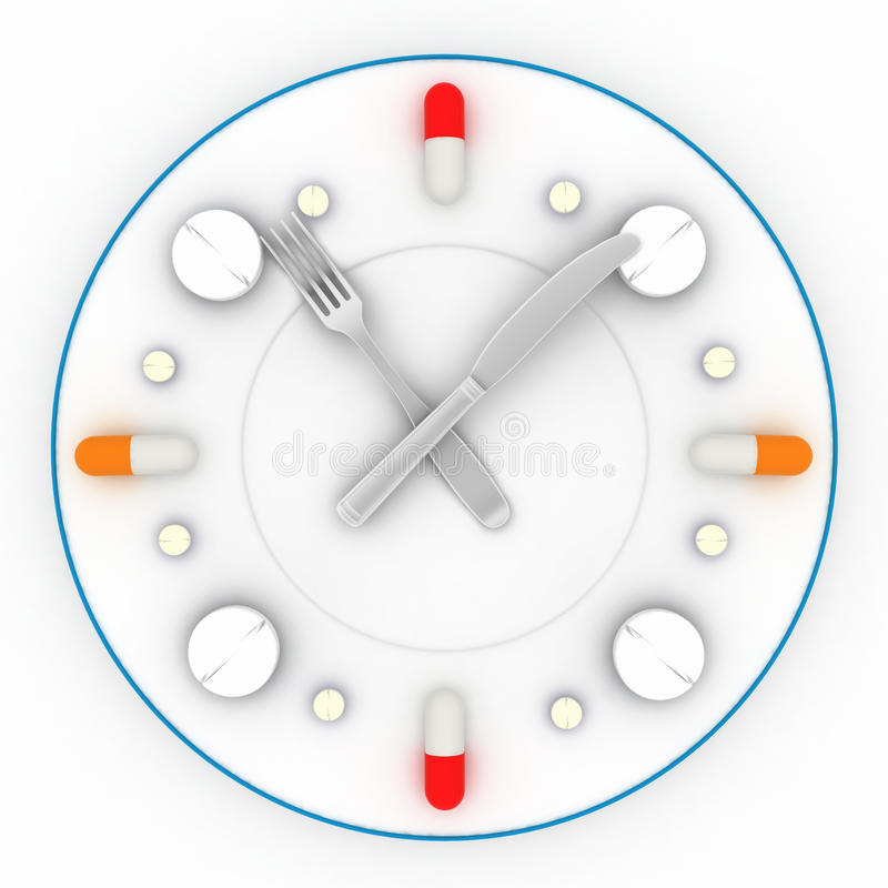 Clock Consist Of The Plate, Pills, Forks With A Knife Stock Photos