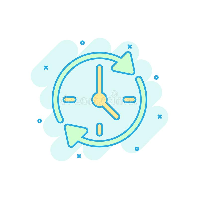 Clock countdown icon in comic style. Time chronometer vector cartoon illustration pictogram. Clock business concept splash effect.  royalty free illustration