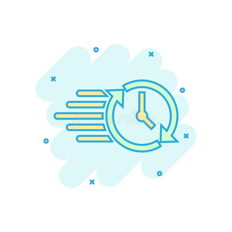 Clock countdown icon in comic style. Time chronometer vector cartoon illustration pictogram. Clock business concept splash effect vector illustration
