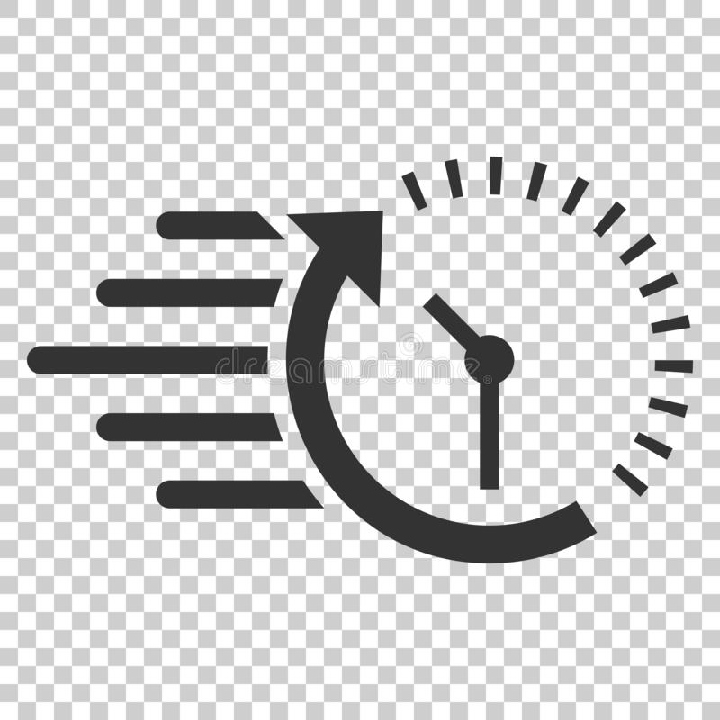 Clock countdown icon in flat style. Time chronometer vector illustration on isolated background. Clock business concept. stock illustration