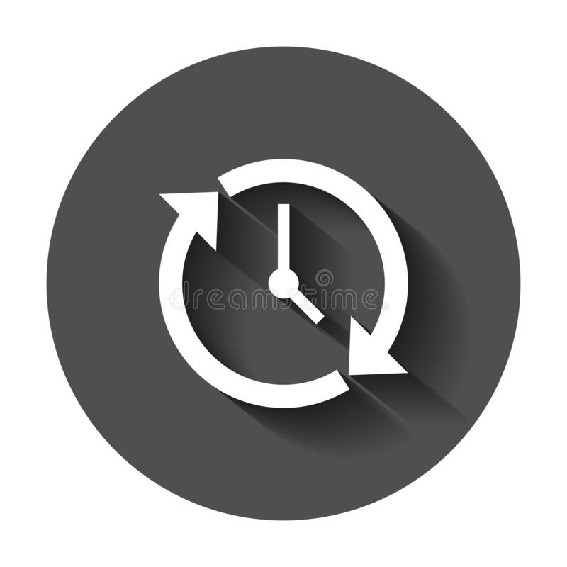 Clock countdown icon in flat style. Time chronometer vector illustration with long shadow. Clock business concept. stock illustration
