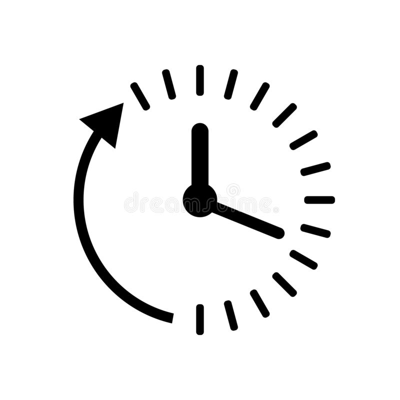 Clock countdown icon in flat style. Time chronometer vector illustration on white isolated background. Clock business concept. stock illustration