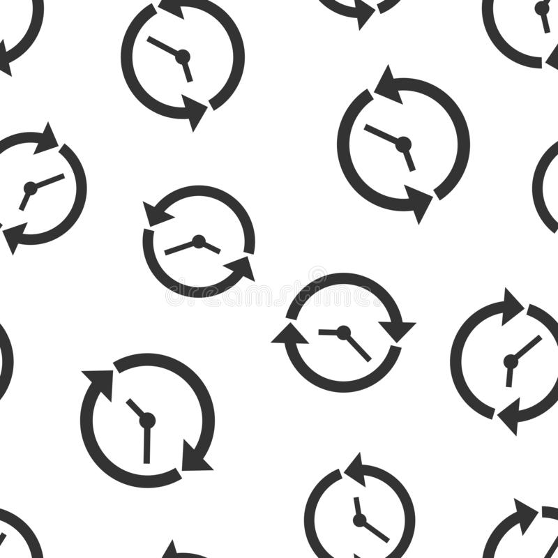 Clock countdown icon seamless pattern background. Time chronometer vector illustration. Watch clock symbol pattern.  stock illustration