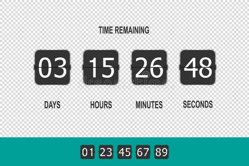 Clock Counter, Timer Flip Countdown, Time Remaining Countdown - Vector Illustration - Isolated On Transparent Background royalty free illustration