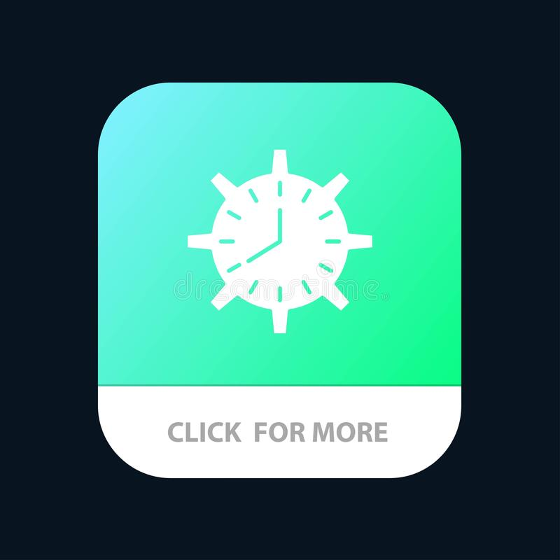 Clock, Deadline, Time, Timepiece, Timing, Watch, Work Mobile App Button. Android and IOS Glyph Version vector illustration