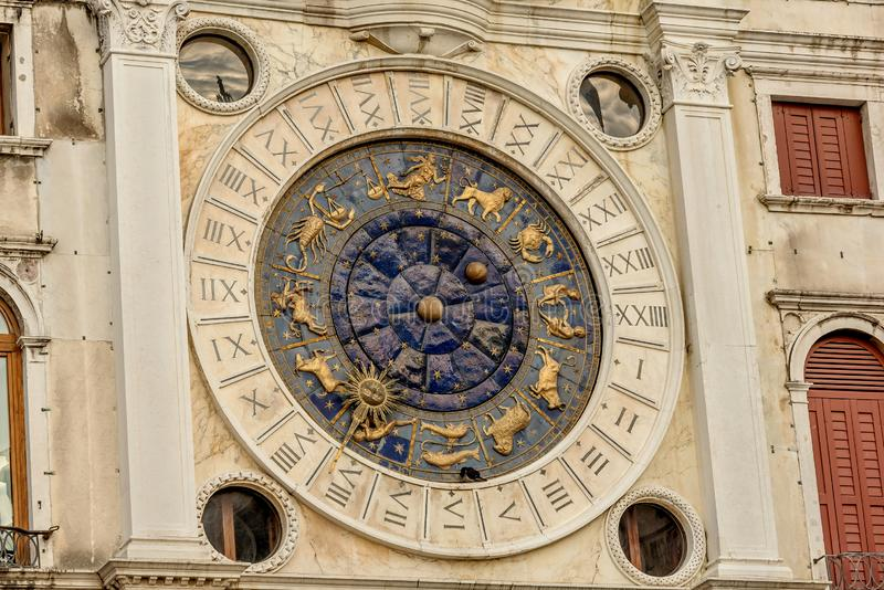 Clock dell`Orologio on St Mark`s Square San Marc in Venice, Italy. Detail with clock face and astrological Zodiac signs.  royalty free stock image