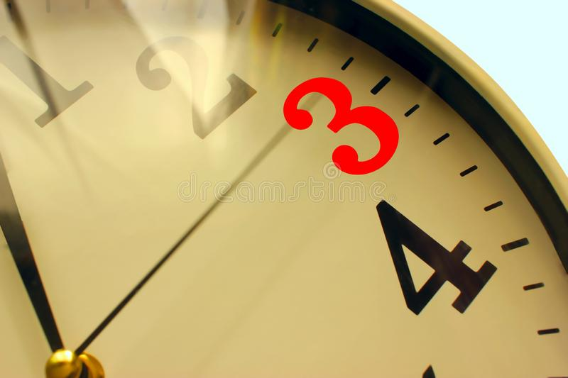 Clock - desktop or wall, Hour dial, Minute hand. Number of red reminders of time stock image