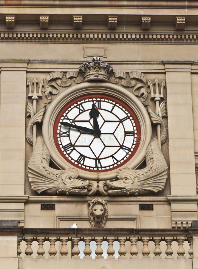 Clock - Detail of Sydney Customs House Building stock photography