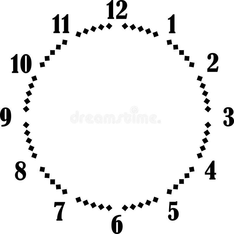 Clock dial big numbers black diamond signs pointing negative space for seconds. Clock dial black big numbers diamond signs pointing negative space for seconds on royalty free illustration