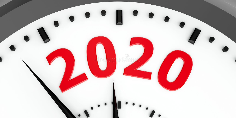 Clock dial 2020 vector illustration