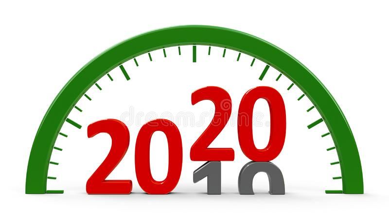 Clock dial 2020, half royalty free illustration