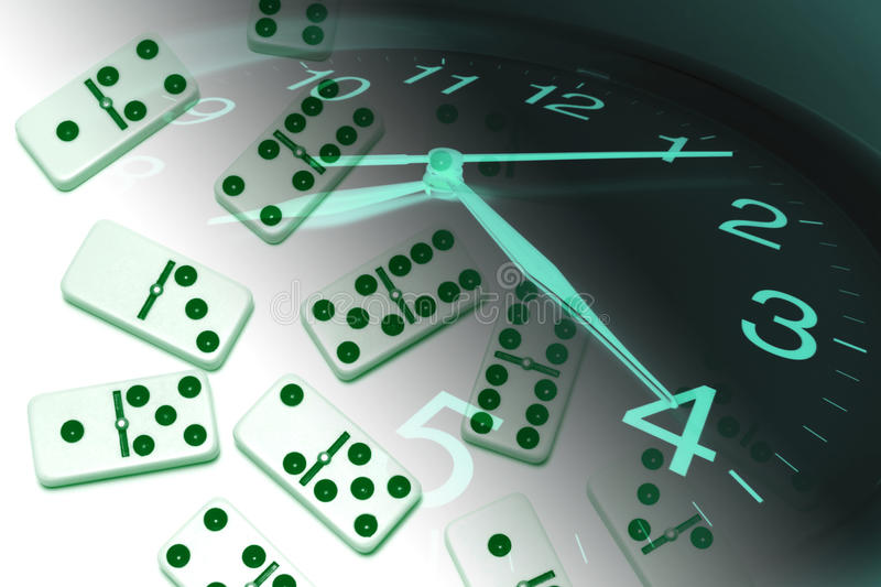 Download Clock and Dominoes stock photo. Image of domino, assemble - 9813060