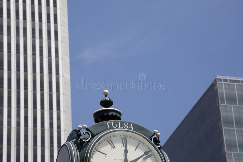 Clock in downtown Tulsa Oklahoma USA. Clock in downtown Tulsa Oklahoma state USA stock photography