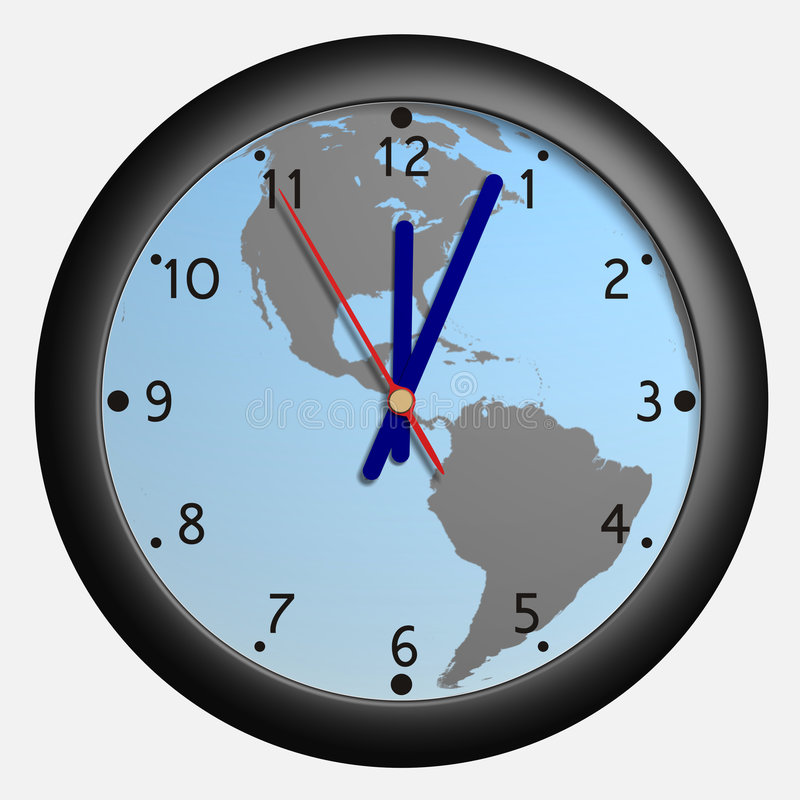 Clock with earth globe bkg royalty free illustration
