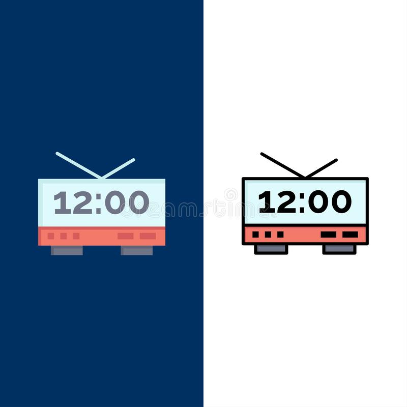 Clock, Electric, Time, Machine  Icons. Flat and Line Filled Icon Set Vector Blue Background royalty free illustration