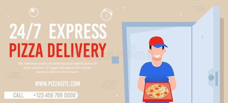 Clock Express Pizzeria Delivery Advert stock abbildung