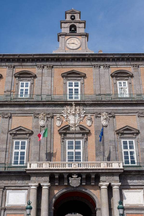 Facade of royal palace - Naples - Italy stock images