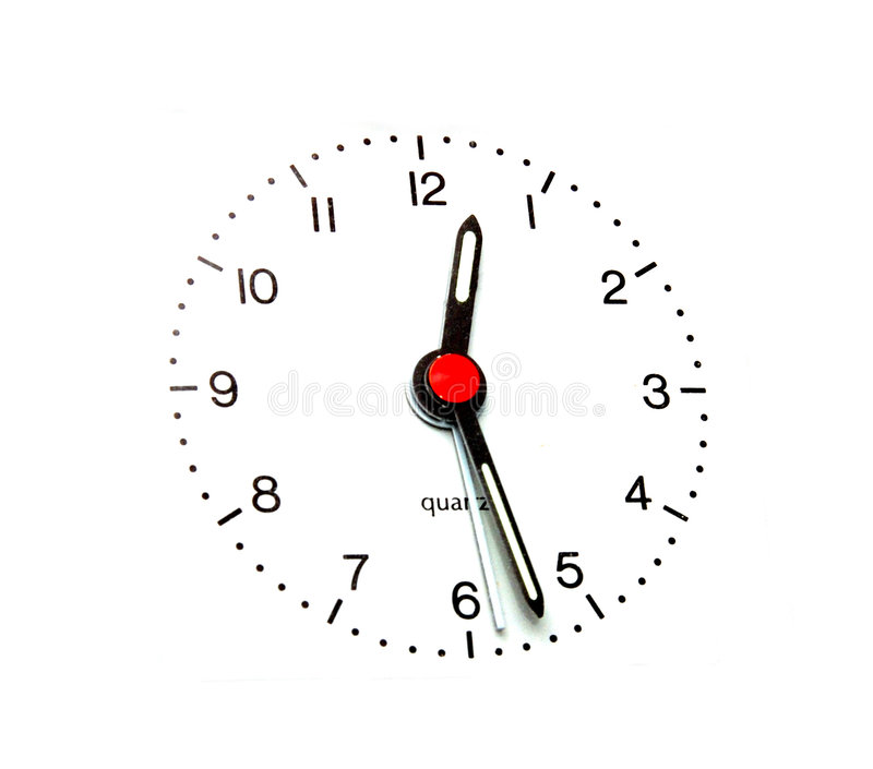 Clock face. Isolated with red dot stock photo