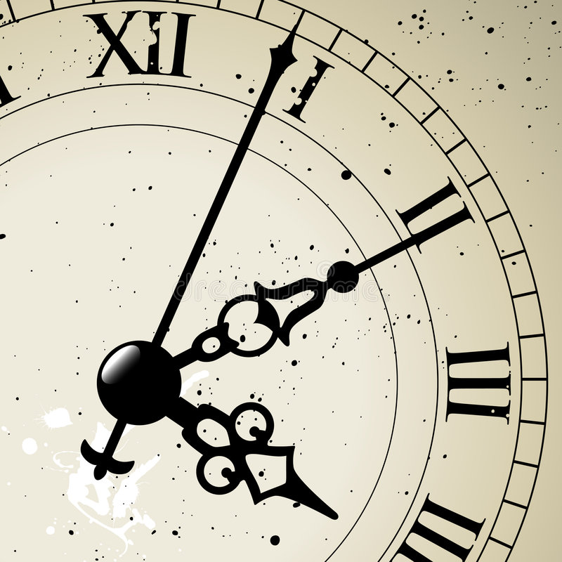 Clock Face. An antique clock face the whole face is available just hidden behind a mask royalty free illustration