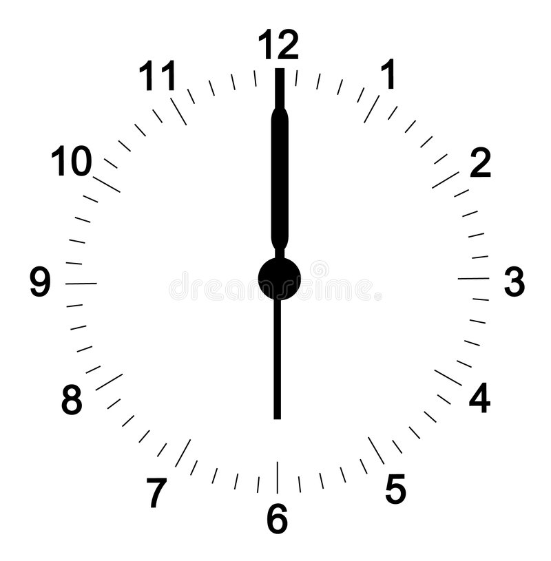 Clock face. With minutes set at six o'clock - hands can be adjusted to your position - vector royalty free illustration