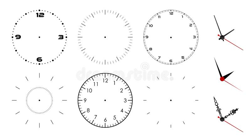 Clock face blank isolated on white background. Vector clock hands. Set for watch design.  stock illustration