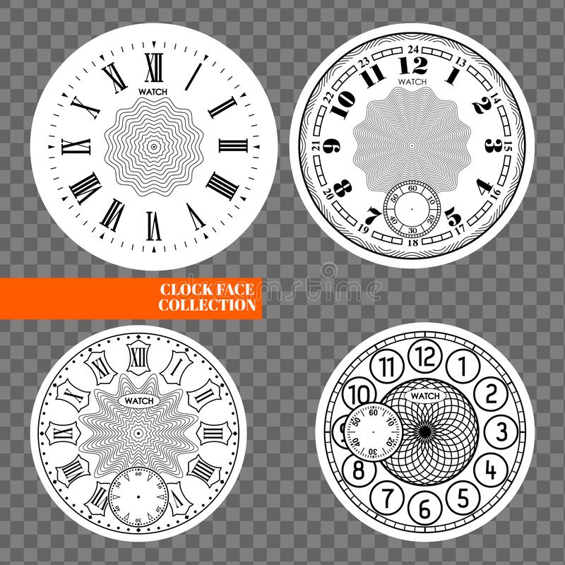 Clock face blank set isolated on transparent background. Vector watch design. Vintage roman numeral clock illustration. Black. Number round scale on white royalty free illustration