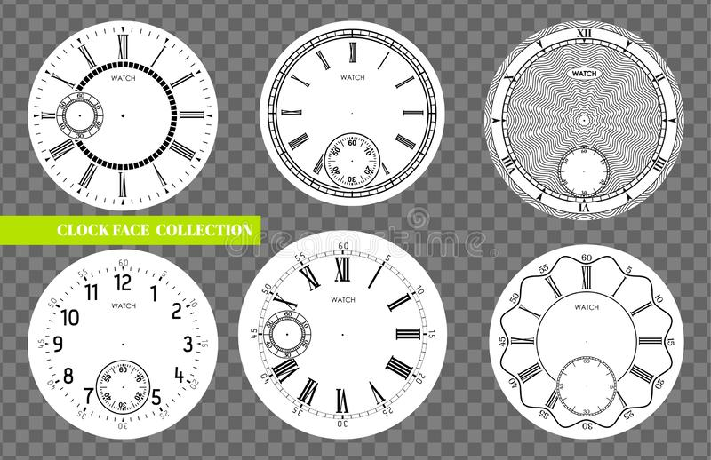 Clock face blank set isolated on transparent background. Vector watch design. Vintage roman numeral clock illustration. Black. Number round scale on white stock illustration