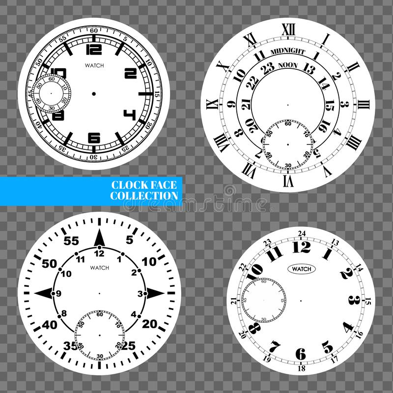 Clock face blank set isolated on transparent background. Vector watch design. Vintage roman numeral clock illustration. Black. Number round scale on white vector illustration