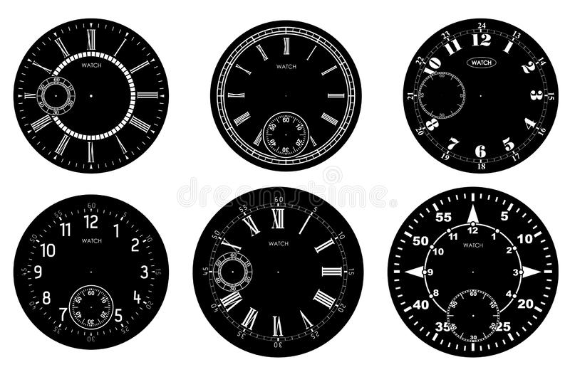 Clock face blank set isolated on white background. Vector watch design. Vintage roman numeral clock illustration. White number. Round scale on black circle royalty free illustration