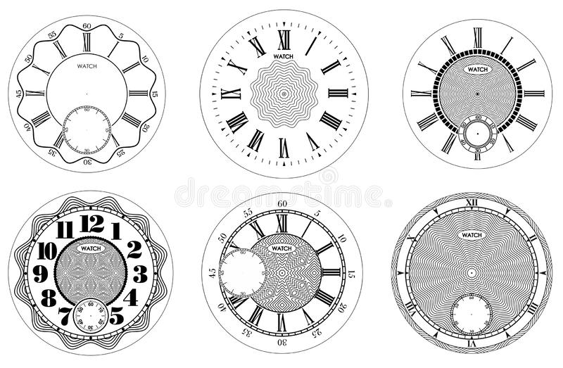 Clock face blank set isolated on white background. Vector watch design. Vintage roman numeral clock illustration. Black number. Round scale vector illustration