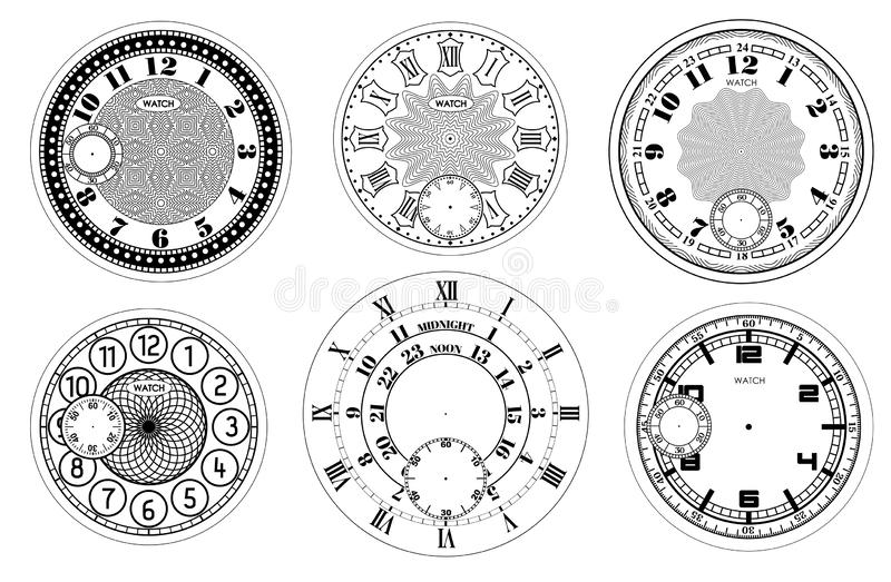 Clock face blank set isolated on white background. Vector watch design. Vintage roman numeral clock illustration. Black number. Round scale stock illustration