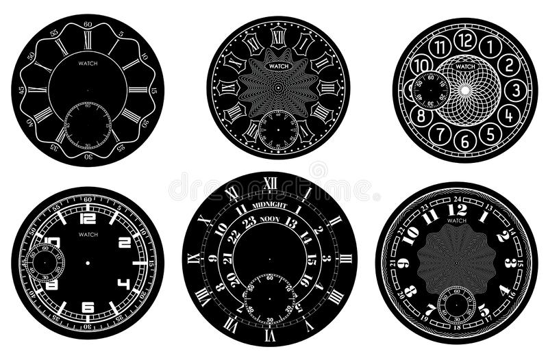 Clock face blank set isolated on white background. Vector watch design. Vintage roman numeral clock illustration. White number. Round scale on black circle stock illustration