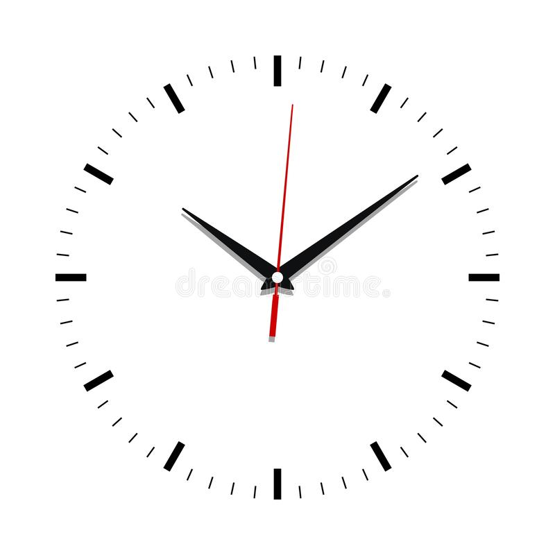 Clock face close up without numbers. Clock face icon. Symbol watch isolated on white  background. Design template closeup. Vector illustration royalty free illustration
