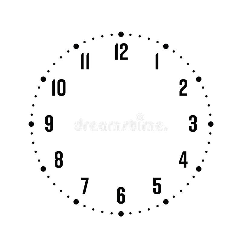 Free Clock Face. Hour Dial With Numbers. Dots Mark Minutes And Hours. Simple Flat Vector Illustration Royalty Free Stock Photography - 140703377