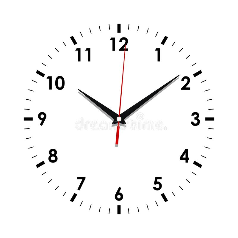 Clock face on the white. Clock face icon. Symbol watch isolated on white  background. Design template closeup. Vector illustration royalty free illustration