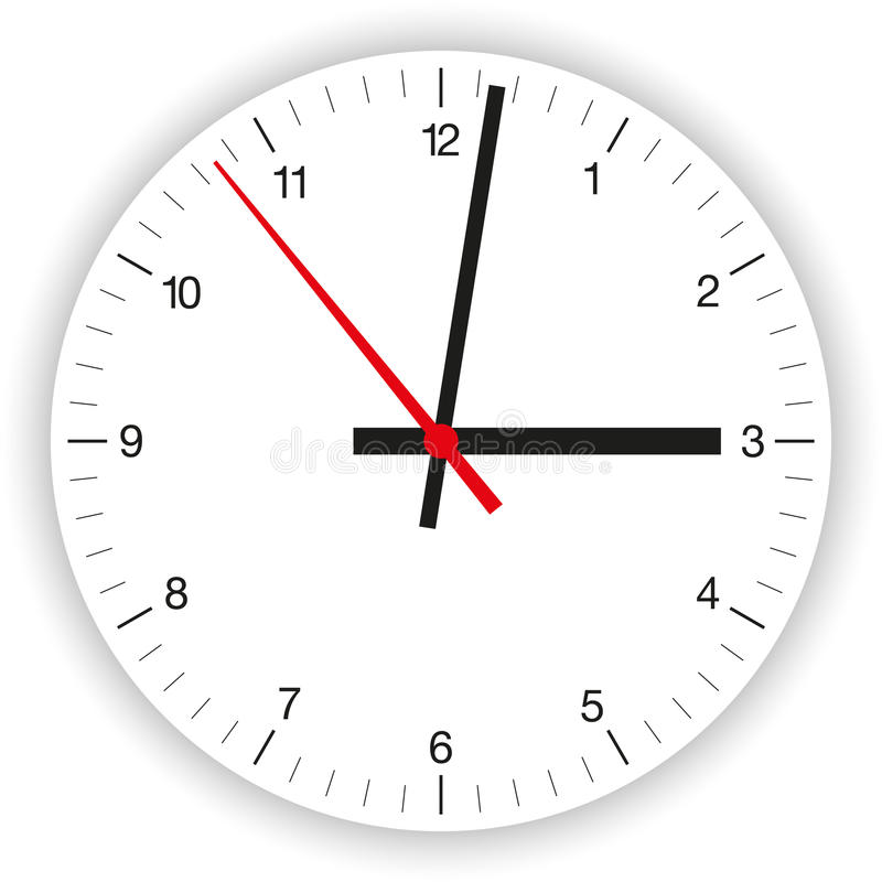 Clock Face. Illustration of a clock face (dial) as part of an analog clock (watch) with black and red pointers royalty free illustration