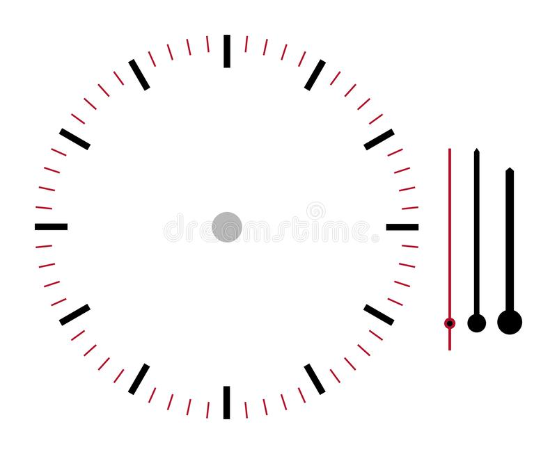 Clock face illustration with hour minute and second hands isolated on white background with clipping path. A clock face illustration with hour minute and second vector illustration