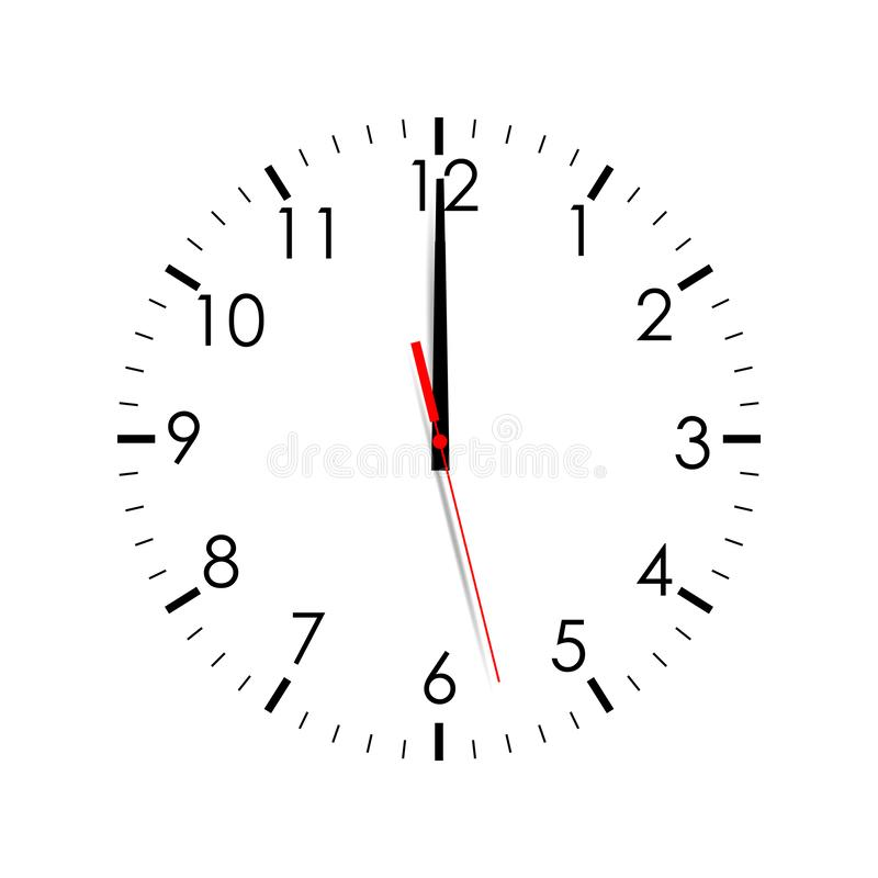 Free Clock Face Isolated On White Background. 12 O`clock Stock Photos - 131388893