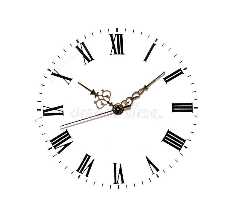Clock face isolated on white. Background stock photos