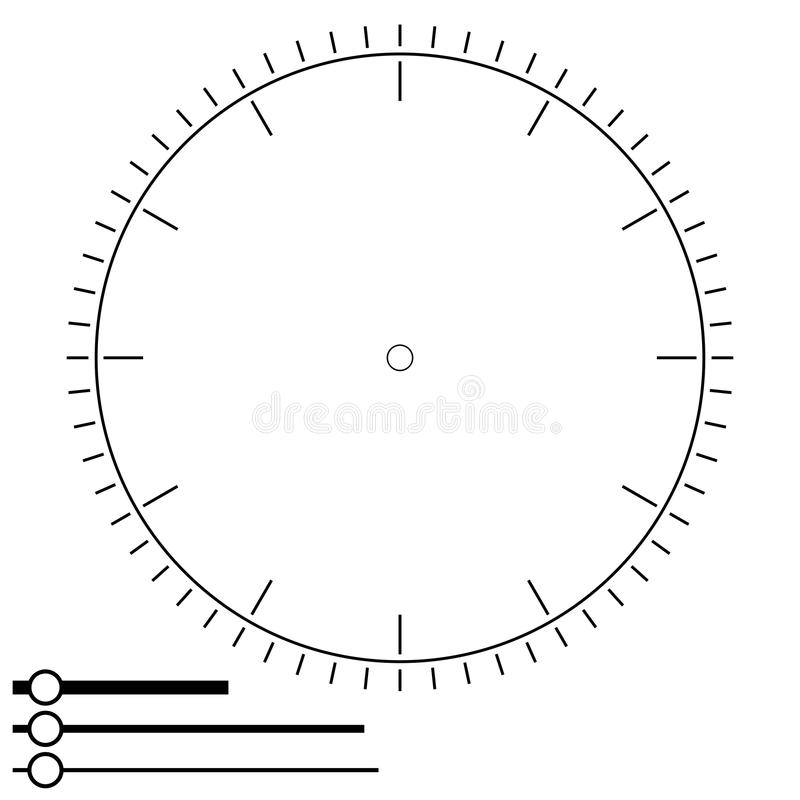 Clock face round. Design for men. Blank display dial of mechanic. Al, electrical device for measuring time, hours, minutes, seconds hands. Vector stock illustration