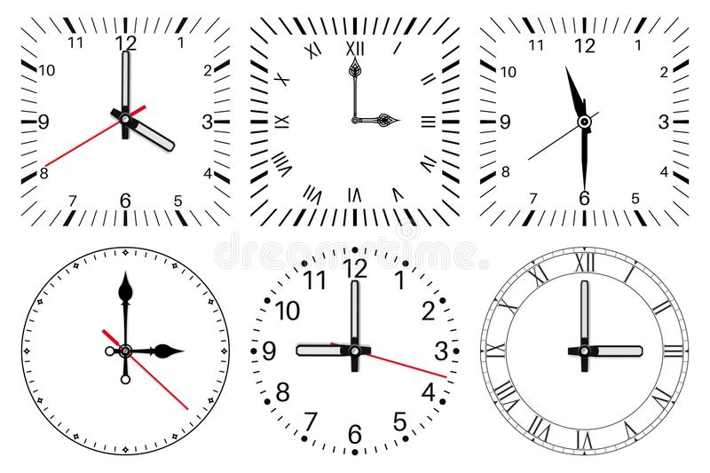 Clock face. Round and square set vector illustration