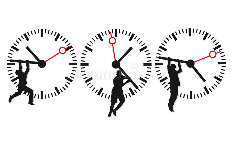 Clock face and time icons stock illustration